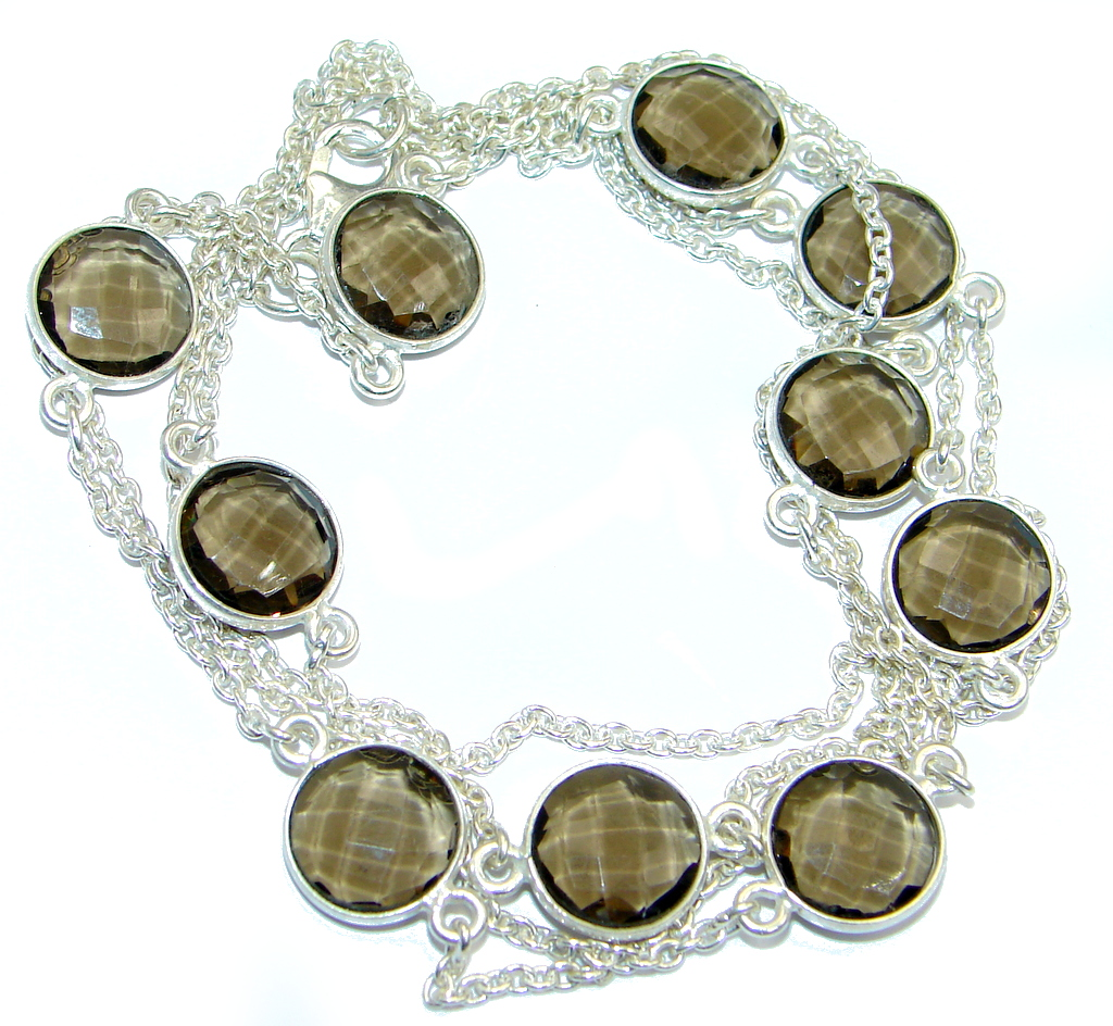 36 inches created Smoky Topaz Sterling Silver Necklace
