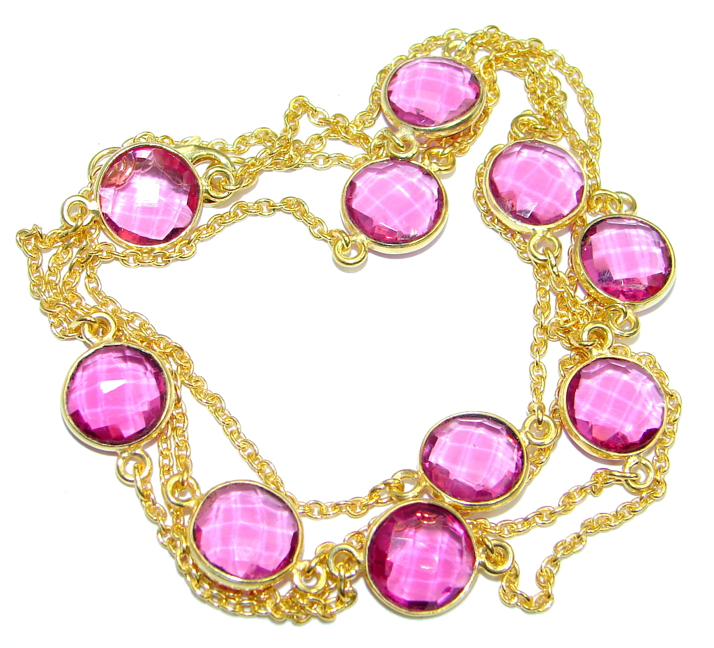 36 inches created Pink Sapphire   Gold over Sterling Silver Necklace