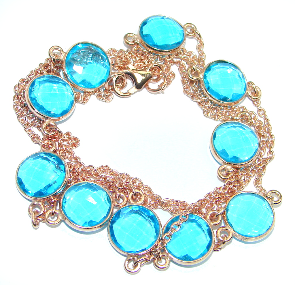 36 inches created London Blue Topaz Rose Gold over Sterling Silver Necklace