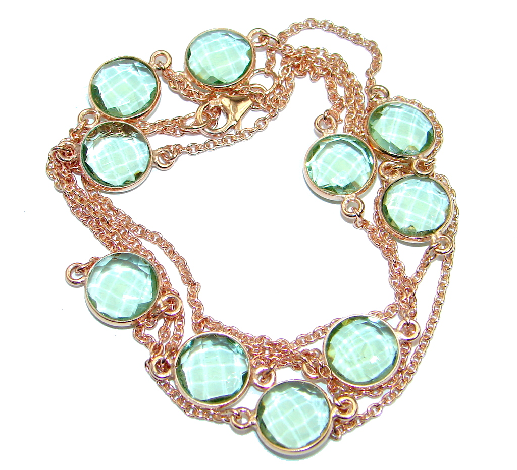 36 inches created Green Amethyst Rose Gold plated over Sterling Silver Necklace