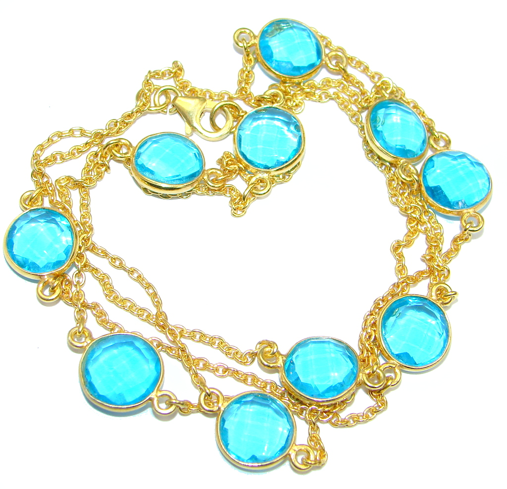 36 inches created London Blue Topaz  Gold over Sterling Silver Necklace
