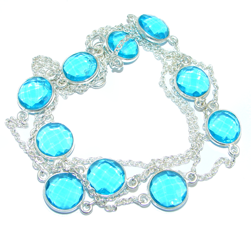 36 inches created London Blue Topaz Sterling Silver Necklace