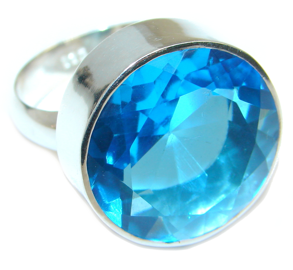 Big created Blue Topaz  Sterling Silver Ring s. 8