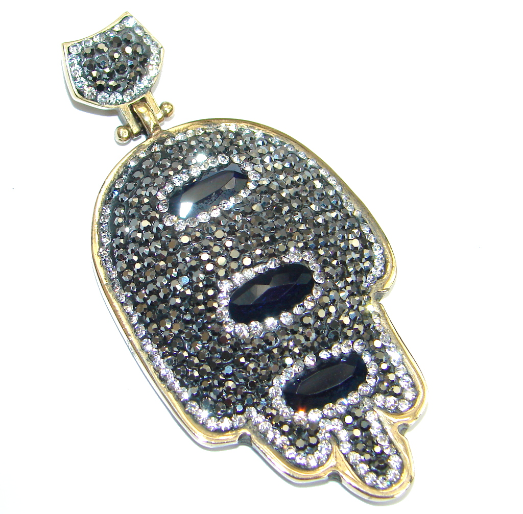 Big Hamsa Hand Onyx Spinel Sterling Silver Pendant