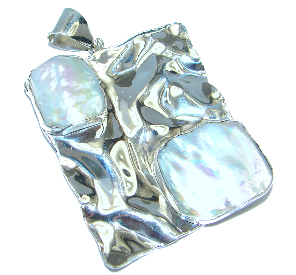 Make a Statment Mother Of Pearl hammered  Sterling Silver Pendant