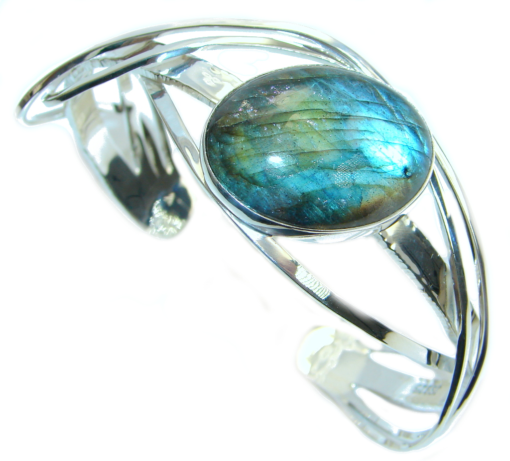 Beautiful Modern Shimmering Labradorite Sterling Silver Bracelet / Cuff