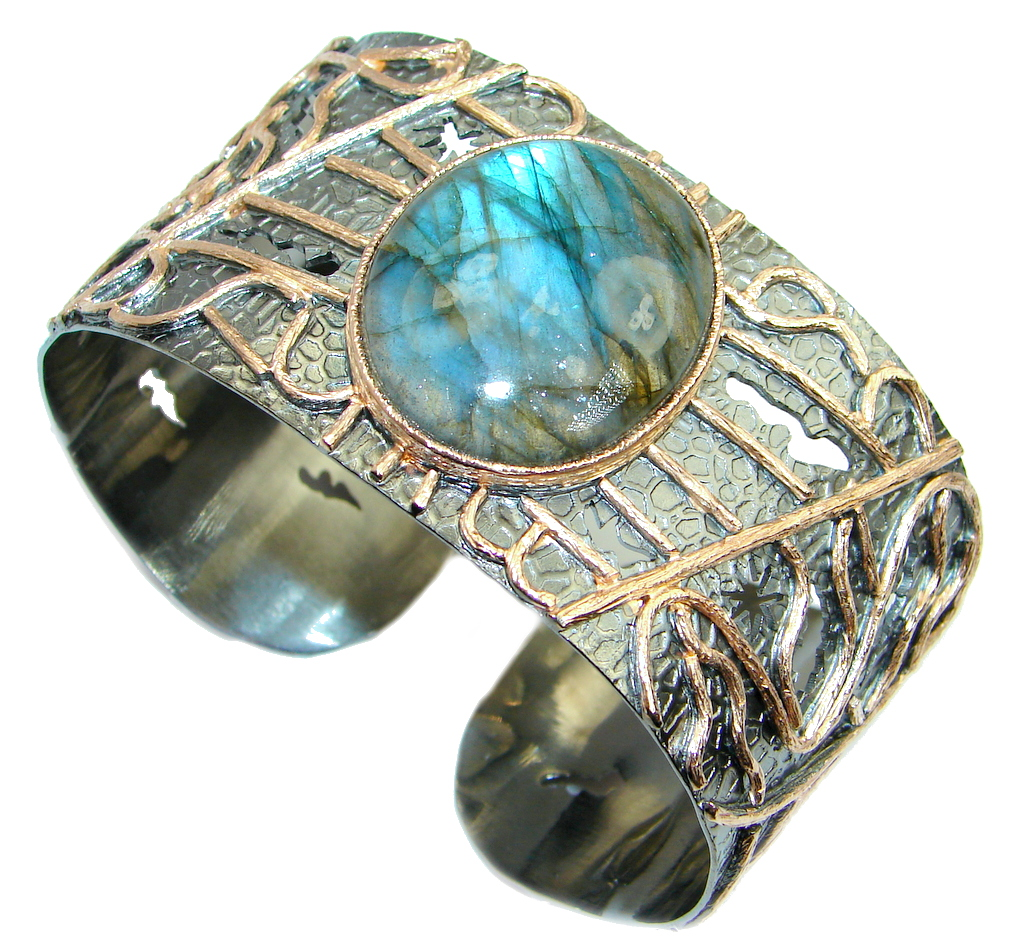 Bohemian Style Fire Labradorite Rhodium Rose Gold plated over Sterling Silver Bracelet / Cuff