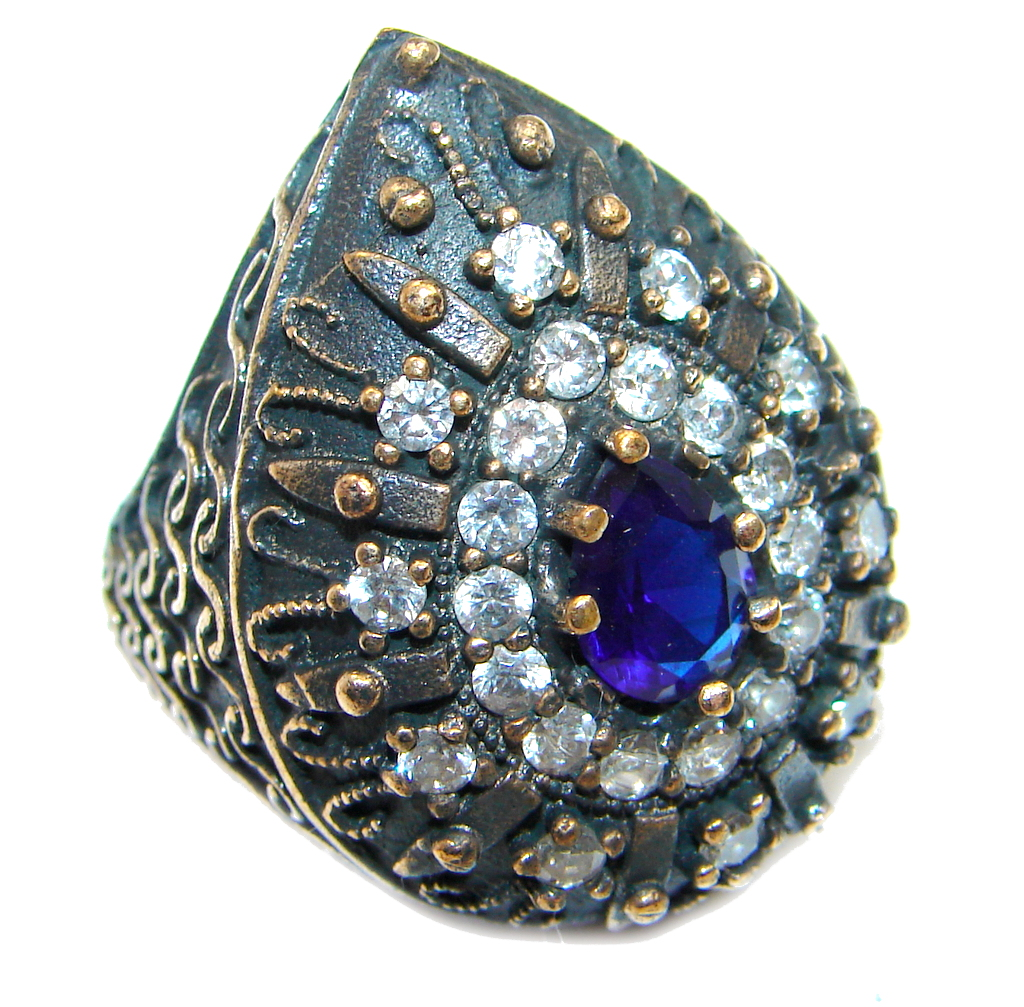 Victorian Style Created Blue Sapphire & White topaz Sterling Silver Ring s. 5 1/2