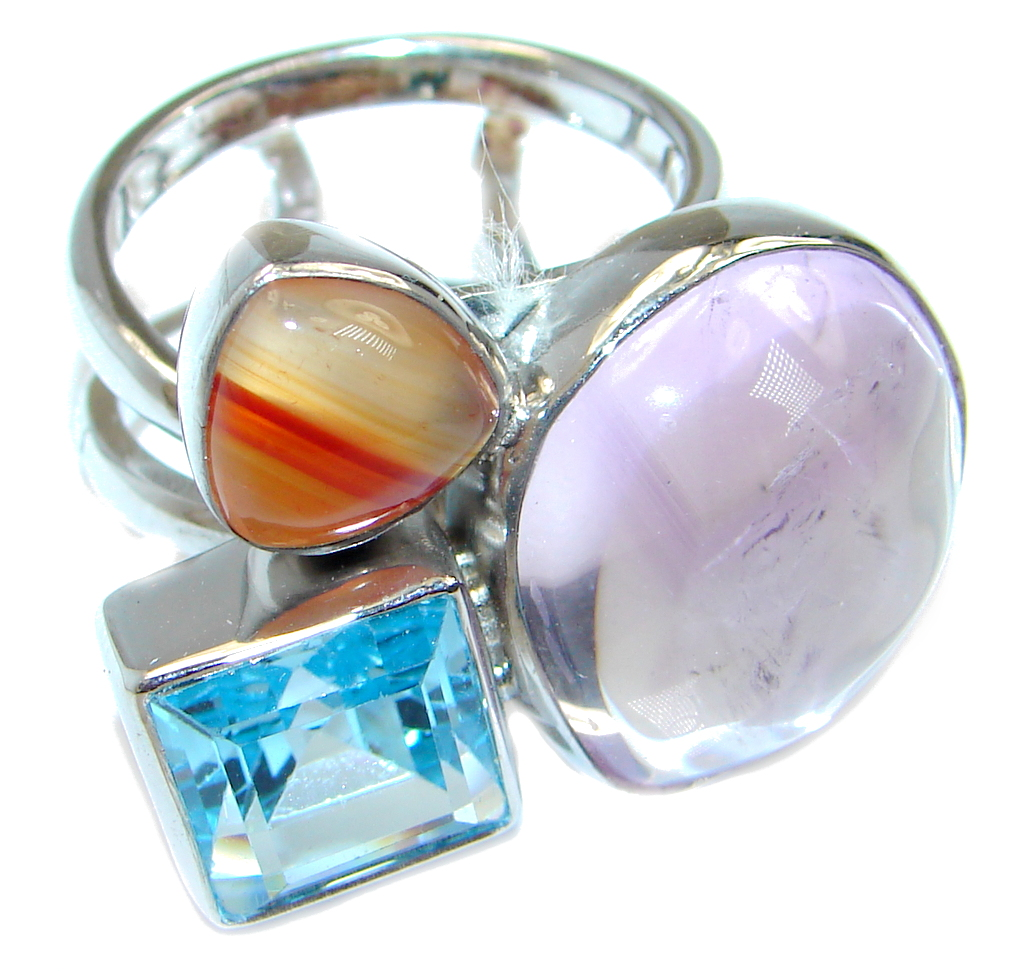 Large Outstanding Beauty AAA Pink Amethyst Sterling Silver ring size adjustable