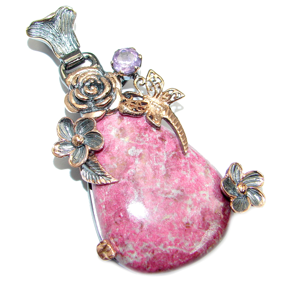 Amazing Pink  Thiolite Rose Gold Rhodium plated over Sterling Silver Pendant