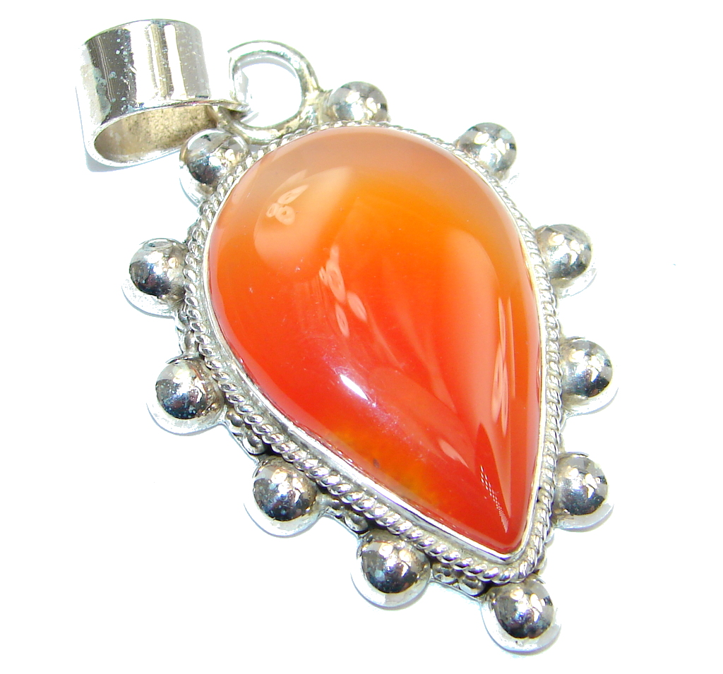 Orange Carnelian Sterling Silver handcrafted Pendant