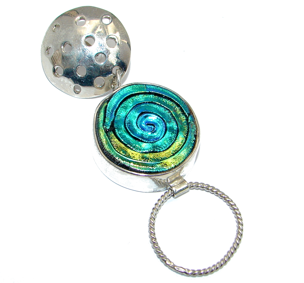 Mexican Dichroic Glass  Sterling Silver handmade Pendant