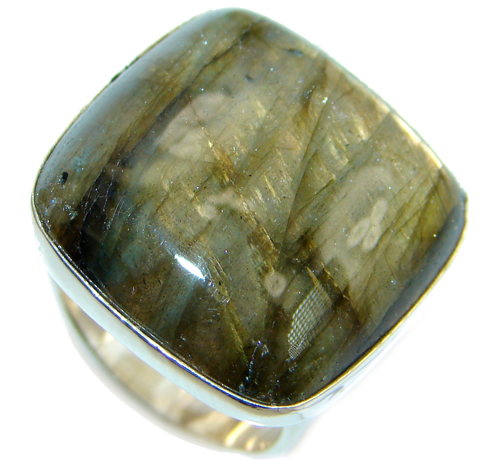 Blue Aura AAA Fire Labradorite  Sterling Silver ring size 6
