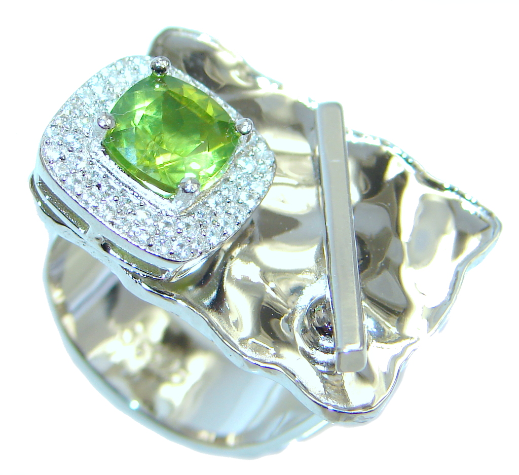 Stylish Genuine Peridot Sterling Silver Ring size adjustable
