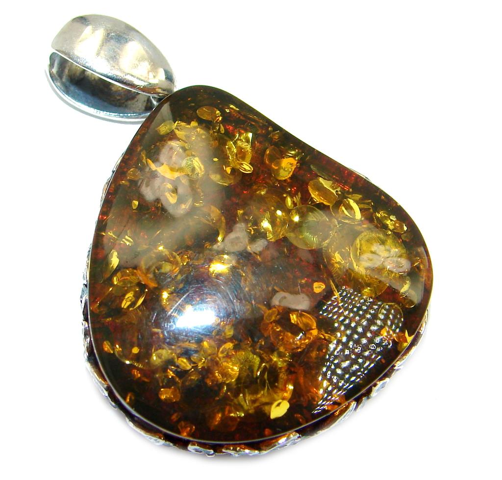 Vintage Design natural Baltic Amber Sterling Silver handmade Pendant