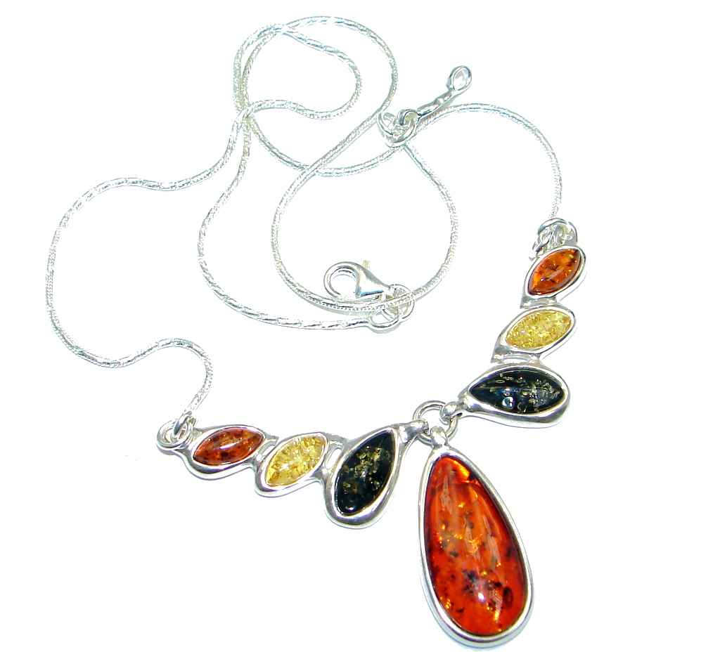 Elegant AAA Multicolor Baltic Polish Amber Sterling Silver handmade necklace