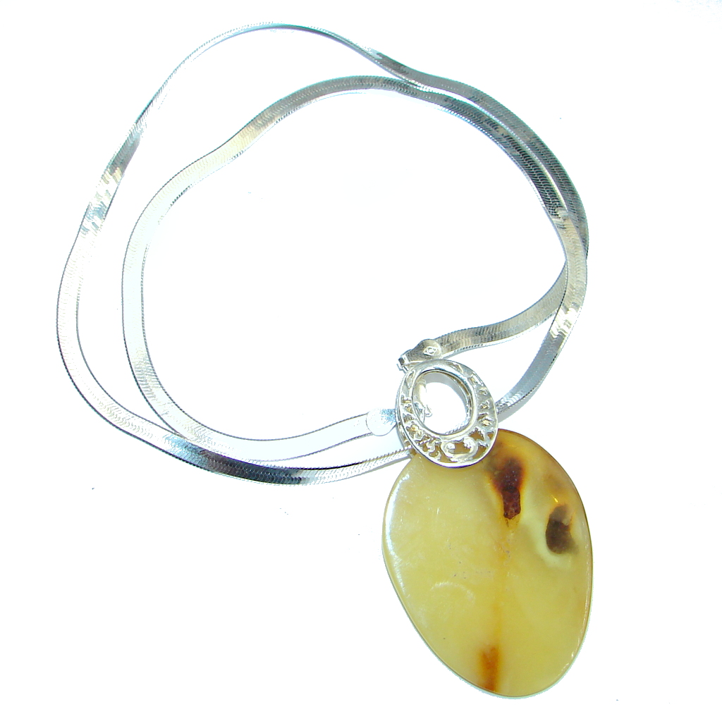 Elegant Butterscotch Baltic Polish Amber Sterling Silver handmade necklace