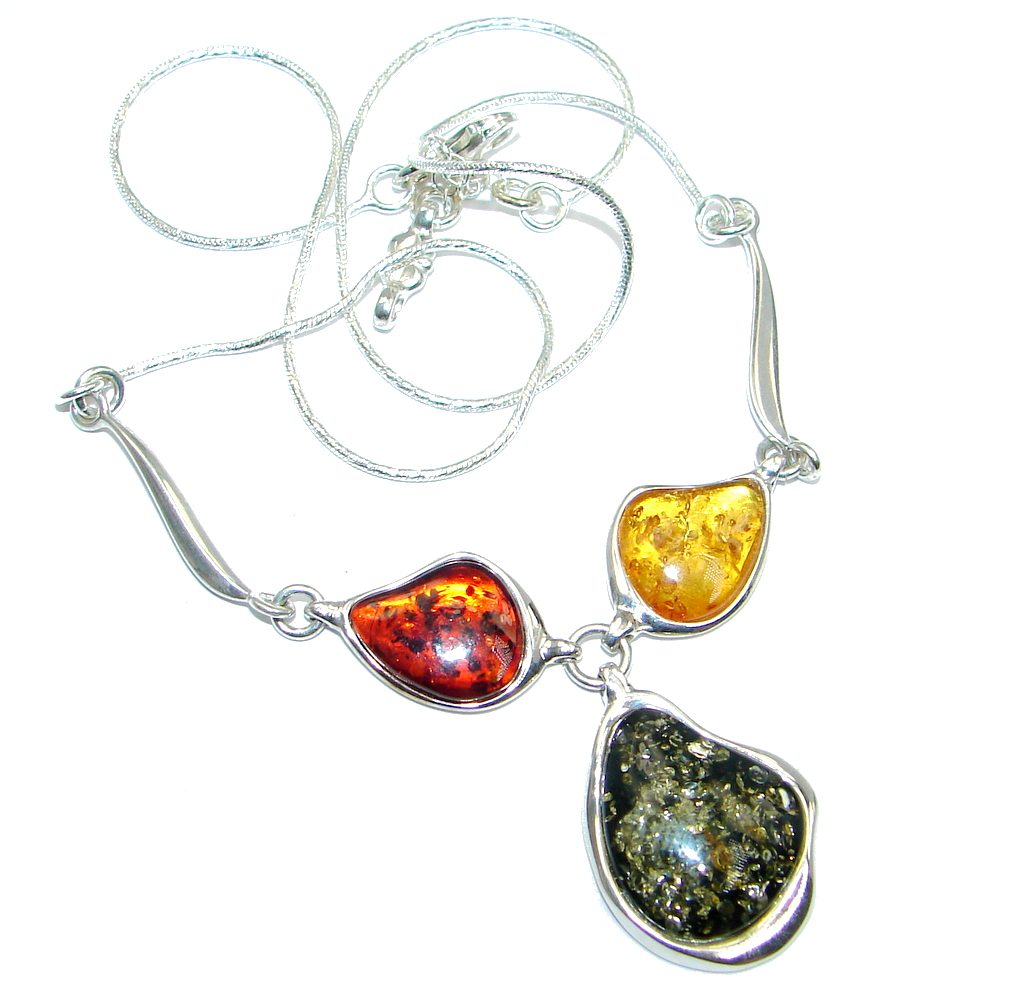 Multicolor Baltic Polish Amber Sterling Silver handmade necklace