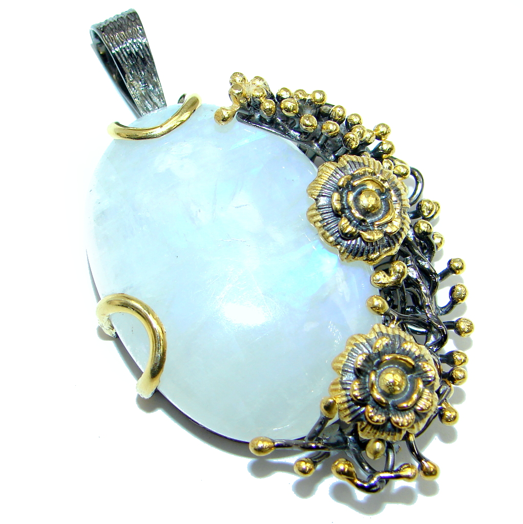 Floral Design Fire Moonstone hammered Gold plated over Sterling Silver Pendant