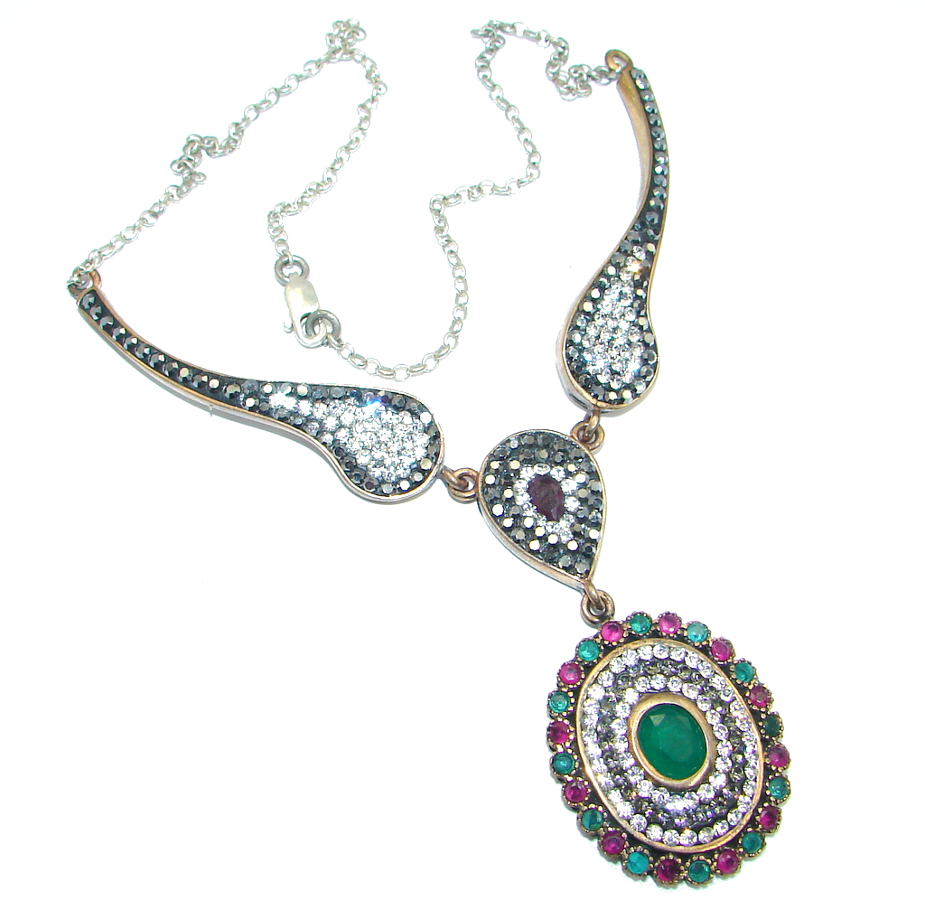 Elegant Victorian Style created Emerald & White Topaz copper over Sterling Silver necklace