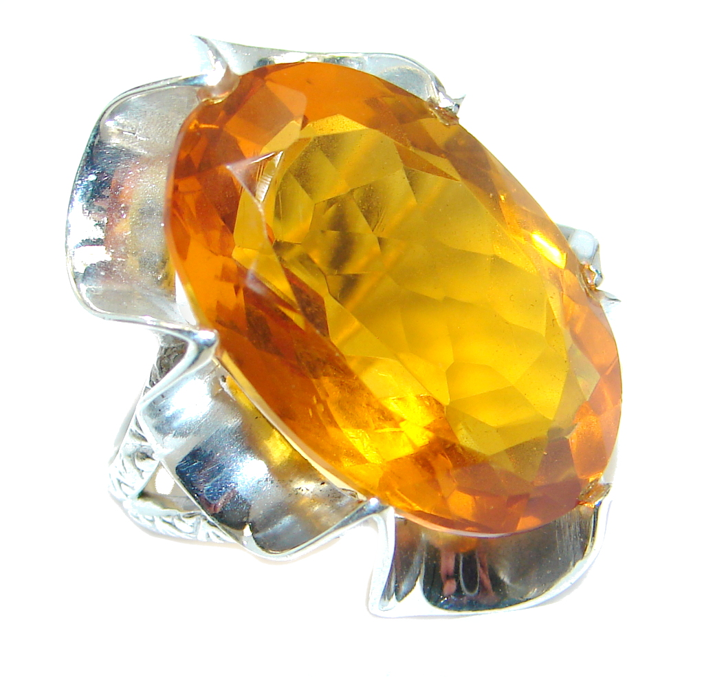 Amazing created Golden Topaz Sterling Silver ring s. 7