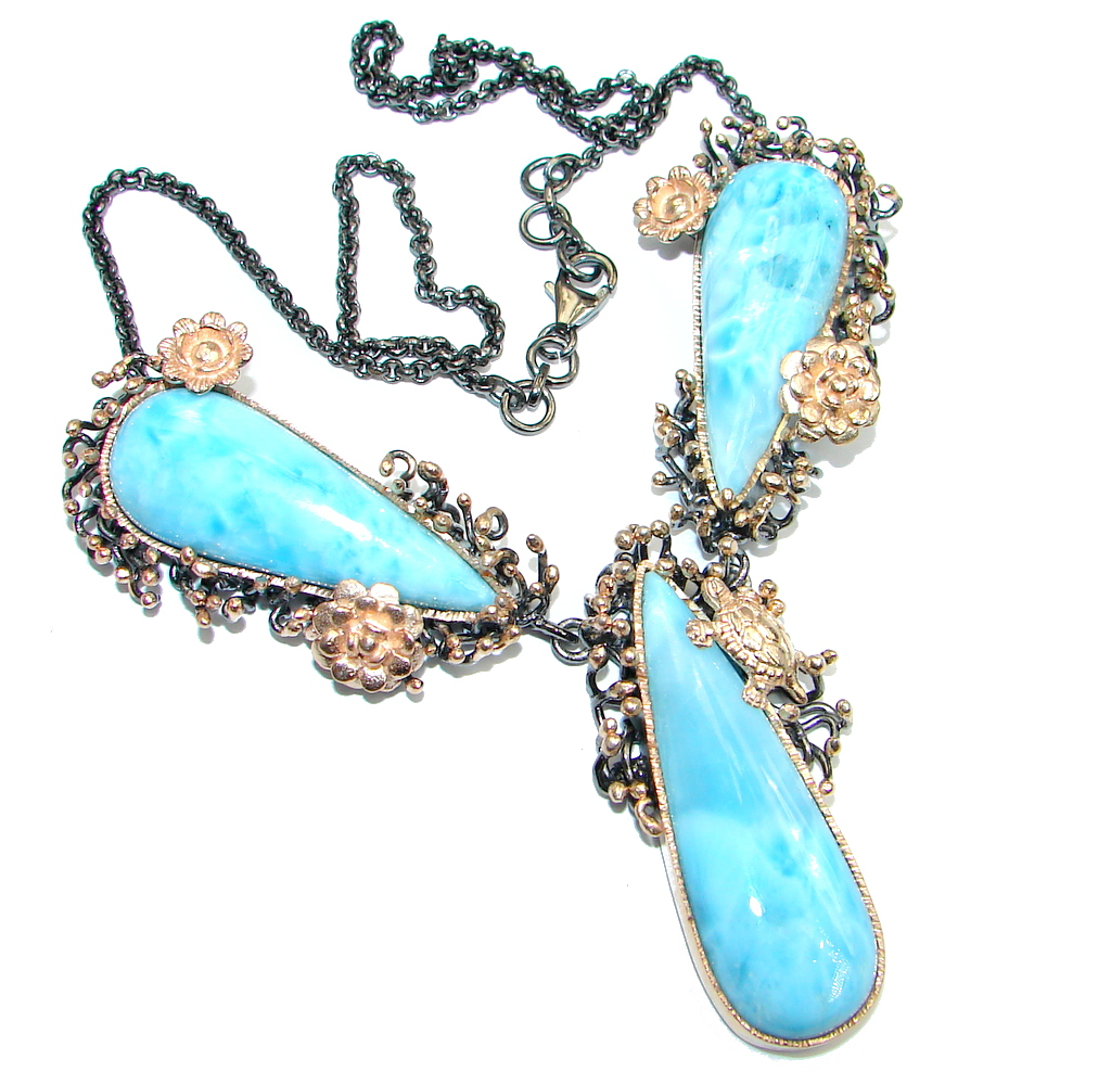 Magic Reef Larimar Swiss Blue Topaz Rose Gold Rhodium over Sterling Silver handmade necklace