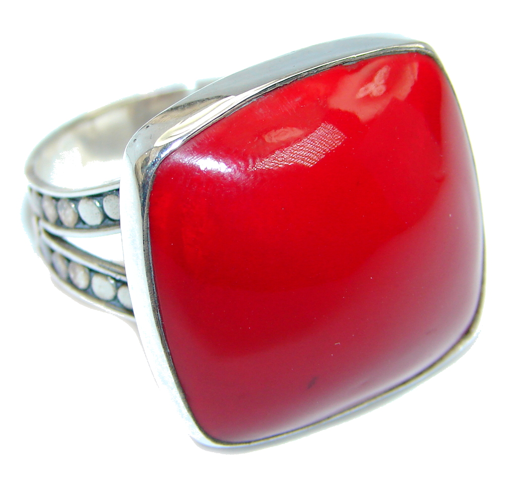 Big Love Power Red Fossilized Coral Sterling Silver ring s. 11