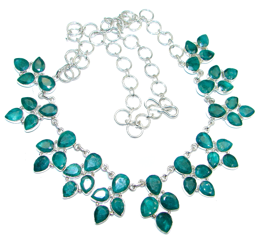 Emily Emerald Sterling Silver handmade necklace