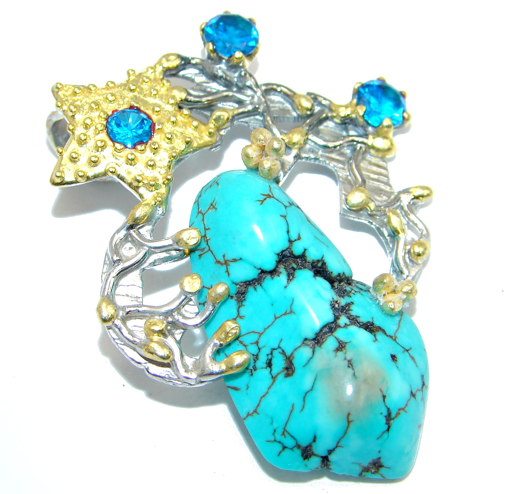 Blue Turquoise Blue Topaz Gold plated over Sterling Silver handmade Pendant