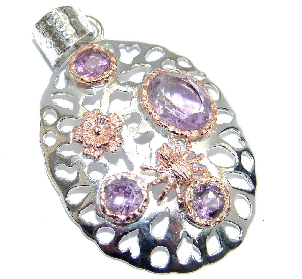 Genuine Amethyst Rose Gold Rhodium plated over Sterling Silver Pendant