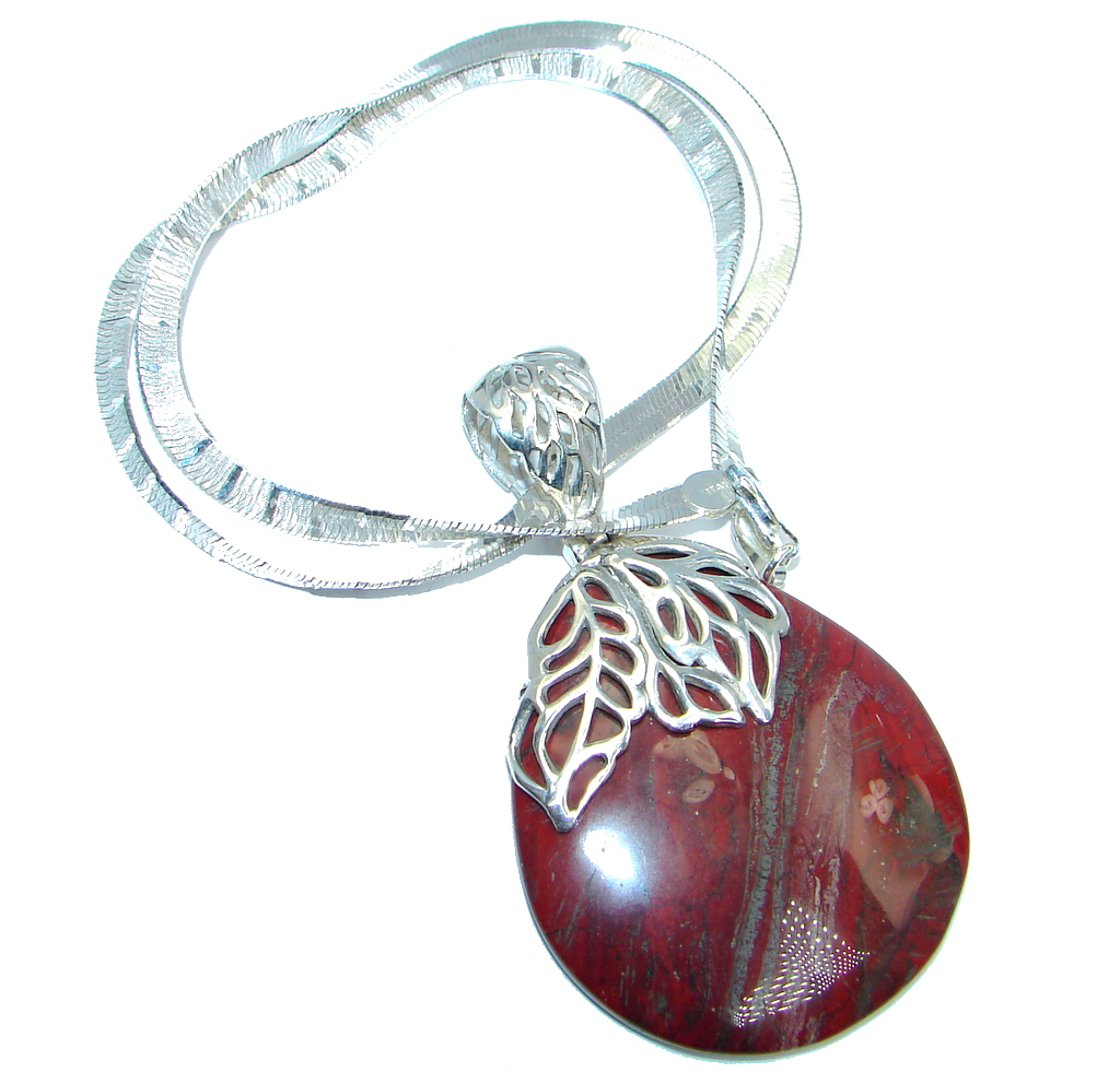 Aura Of Beauty Natural Red Jasper Sterling Silver handmade necklace
