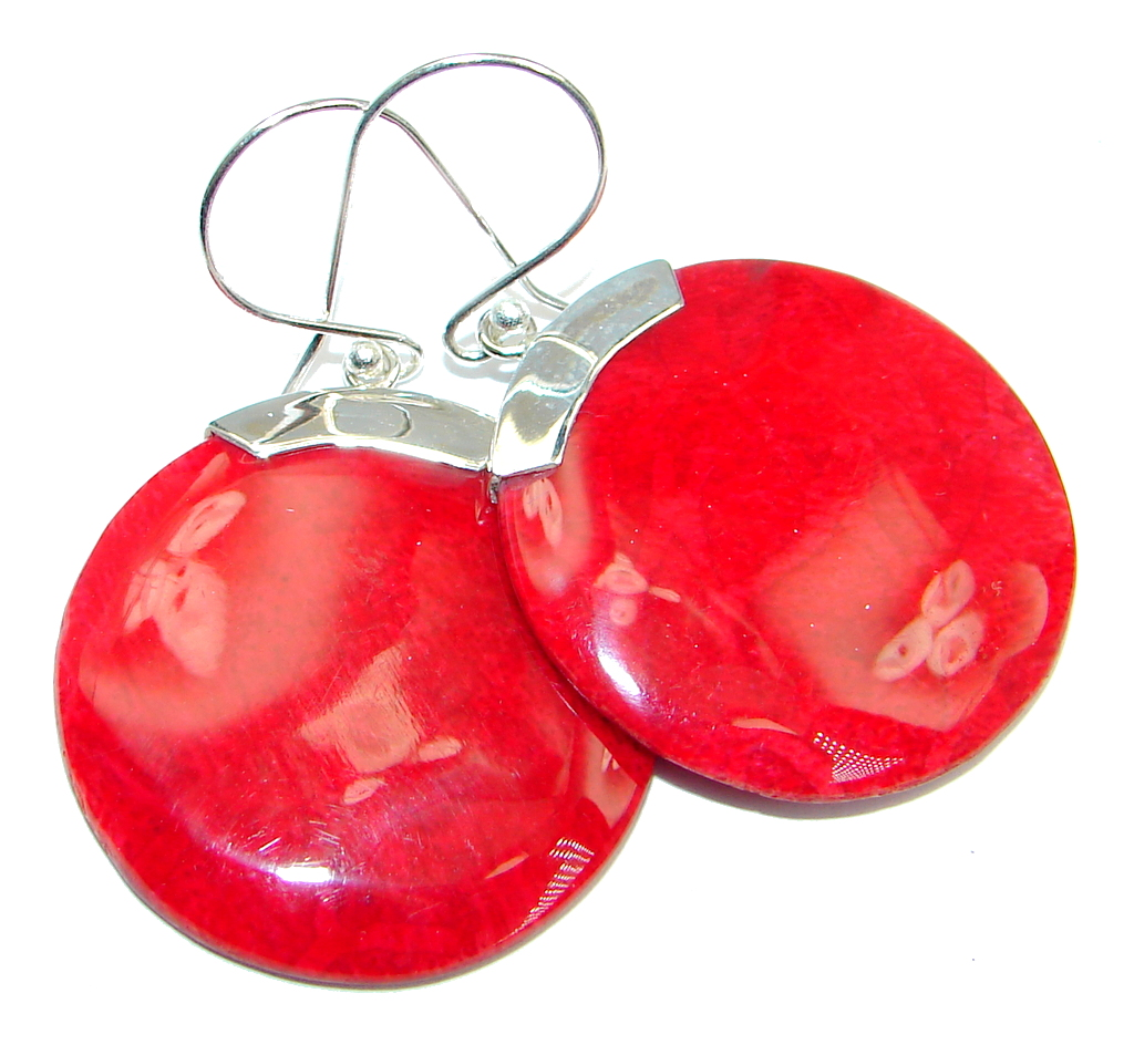 big  Red Fossilized Coral Sterling Silver earrings
