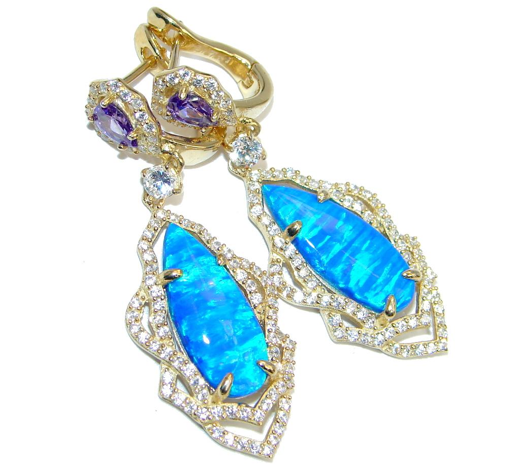 Ocean Blue Doublet Fire Opal  Gold Over Sterling Silver handmade earrings