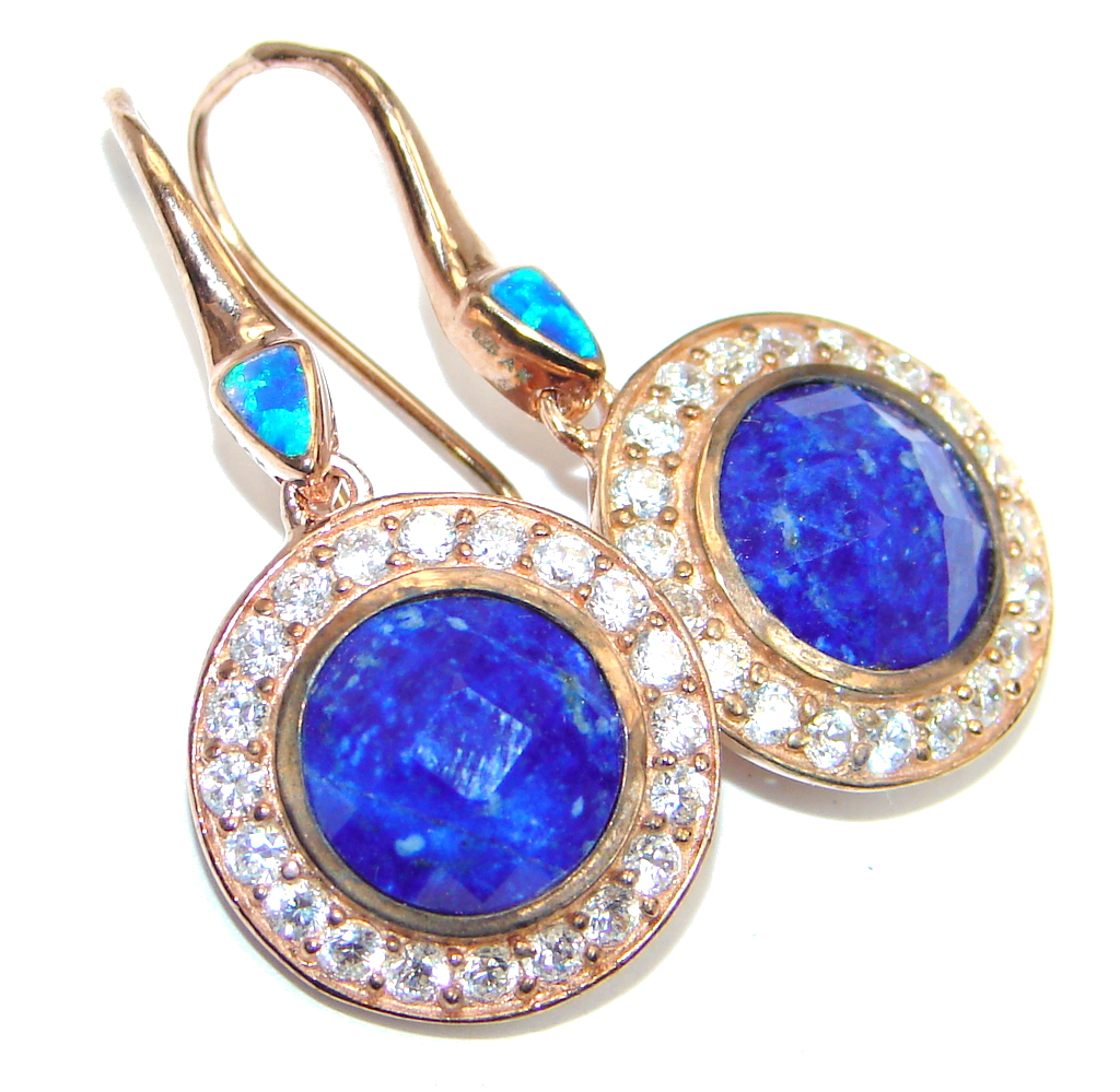 Exclusive Lapis Lazuli Fire Opal Rose Gold plated over Sterling Silver earrings