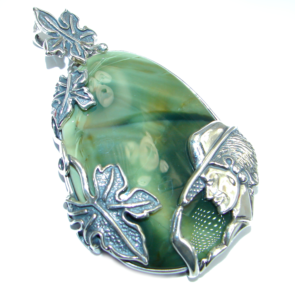 Lady in the Hat Great quality Imperial Jasper Sterling Silver handmade Pendant