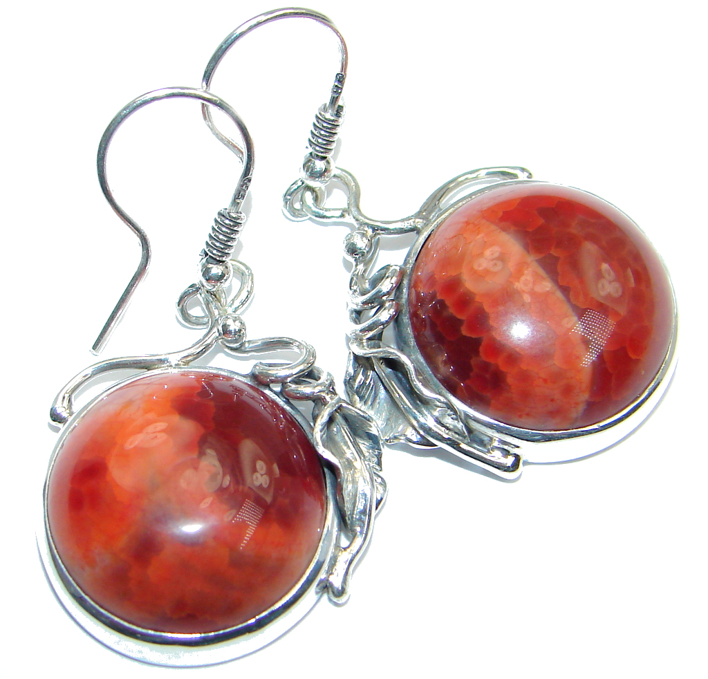 Exclusive Orange Mexican Fire Agate Sterling Silver handmade earrings