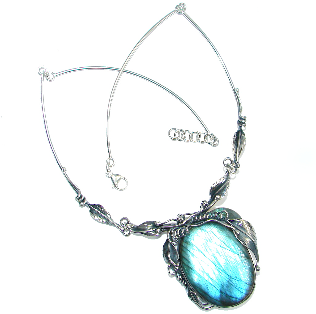 Exclusive Floral Design Fire Labradorite Sterling Silver handmade Necklace