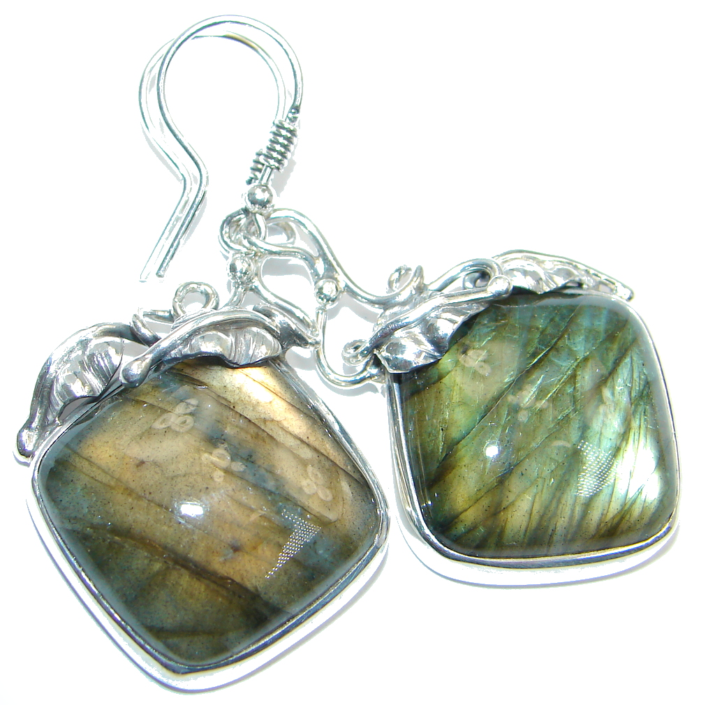 Large Vintage Design Blue Fire Labradorite Sterling Silver handmade earrings