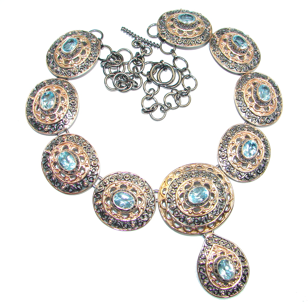 Andromeda Swiss Blue Topaz Rose Gold plated over Sterling Silver handcrafted necklace