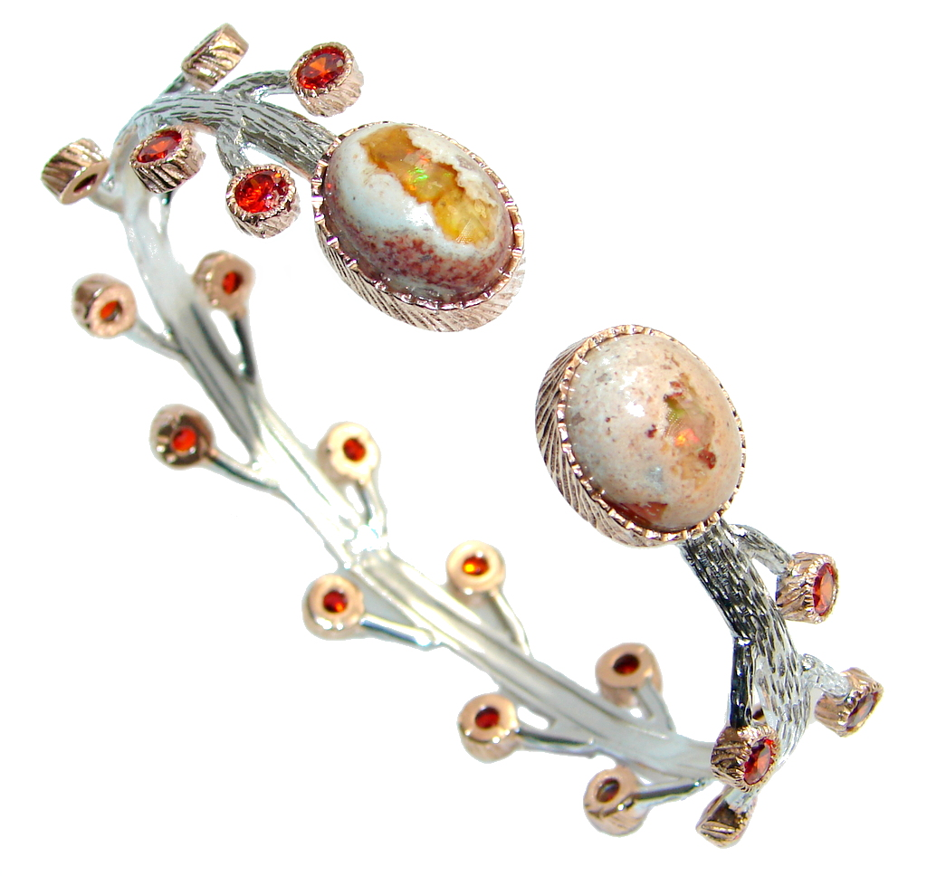 Mexican Fire Opal Garnet Rose Gold plated over Sterling Silver Bracelet / Cuff