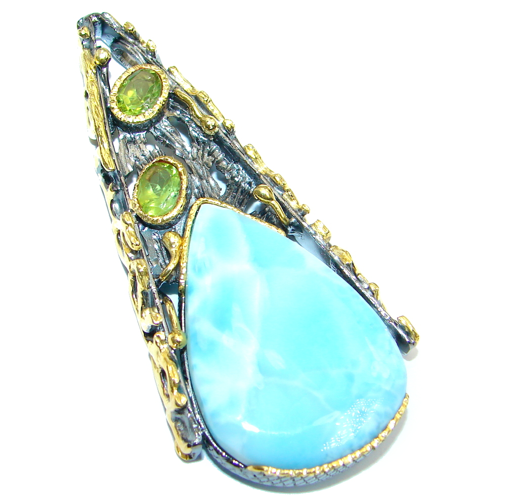 Genuine Blue Larimar Peridot Gold plated Sterling Silver handmade Pendant