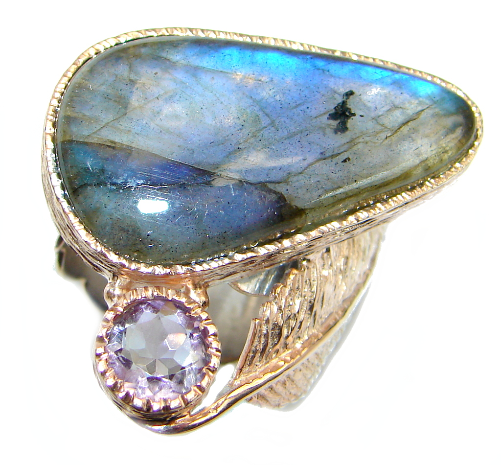 Blue Aura Fire Labradorite Amethyst Rose Gold plated over Sterling Silver ring size 8