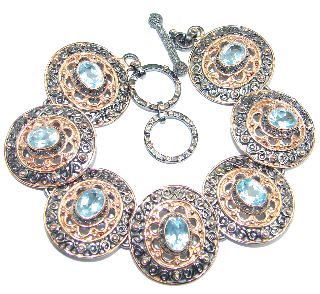 Andromeda Genuine Swiss Blue Topaz Rose Gold Rhodium plated over Sterling Silver Bracelet