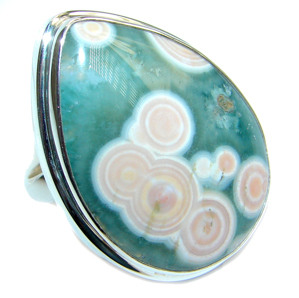 AAA quality Ocean Jasper Sterling Silver handcrafted Ring size adjustable