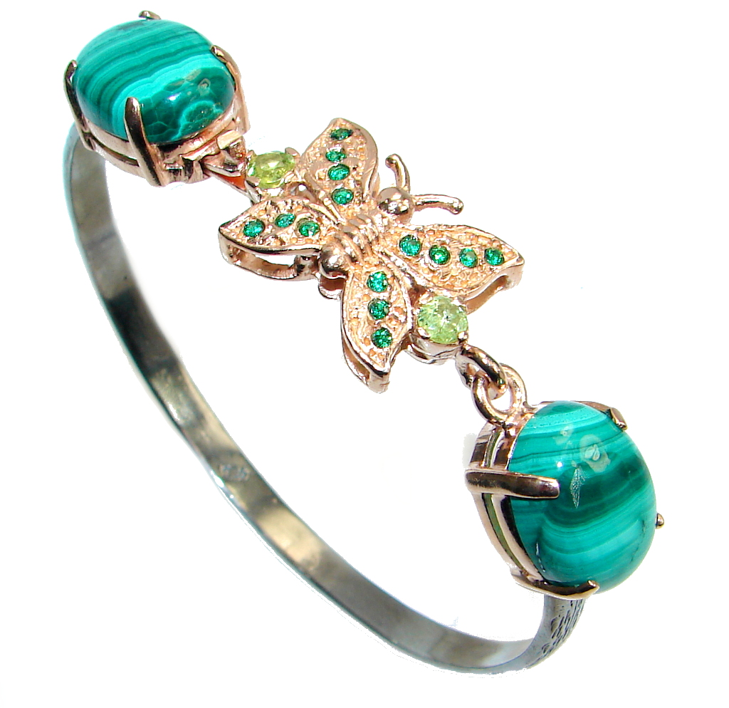 Natural Malachite Gold Rhodium plated over Sterling Silver handcrafted Bracelet / Cuff