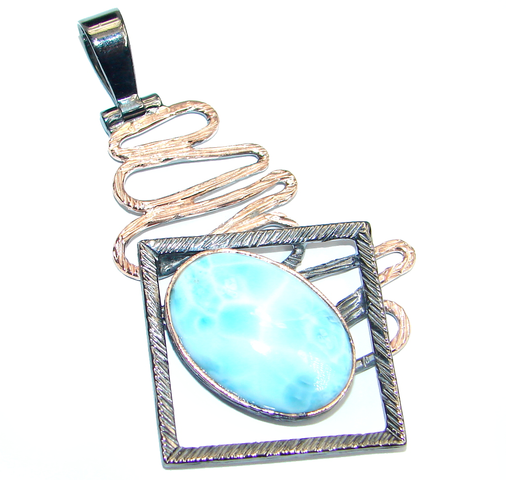 Modern Blue Larimar  Rose Gold Rhodium plated over Sterling Silver handmade ..