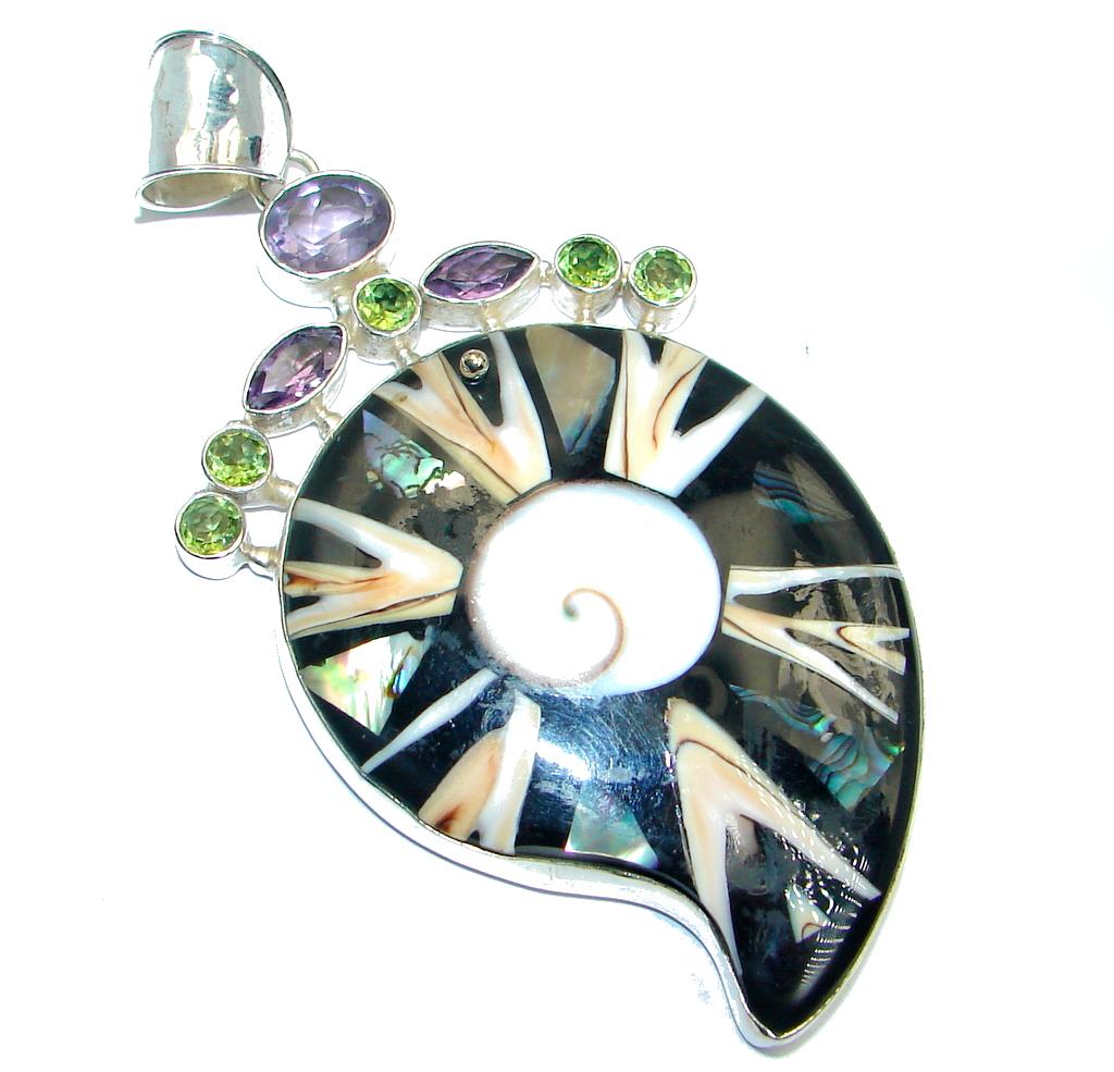 Big Fashion Genuine Shell Amethyst Peridot Sterling Silver Pendant