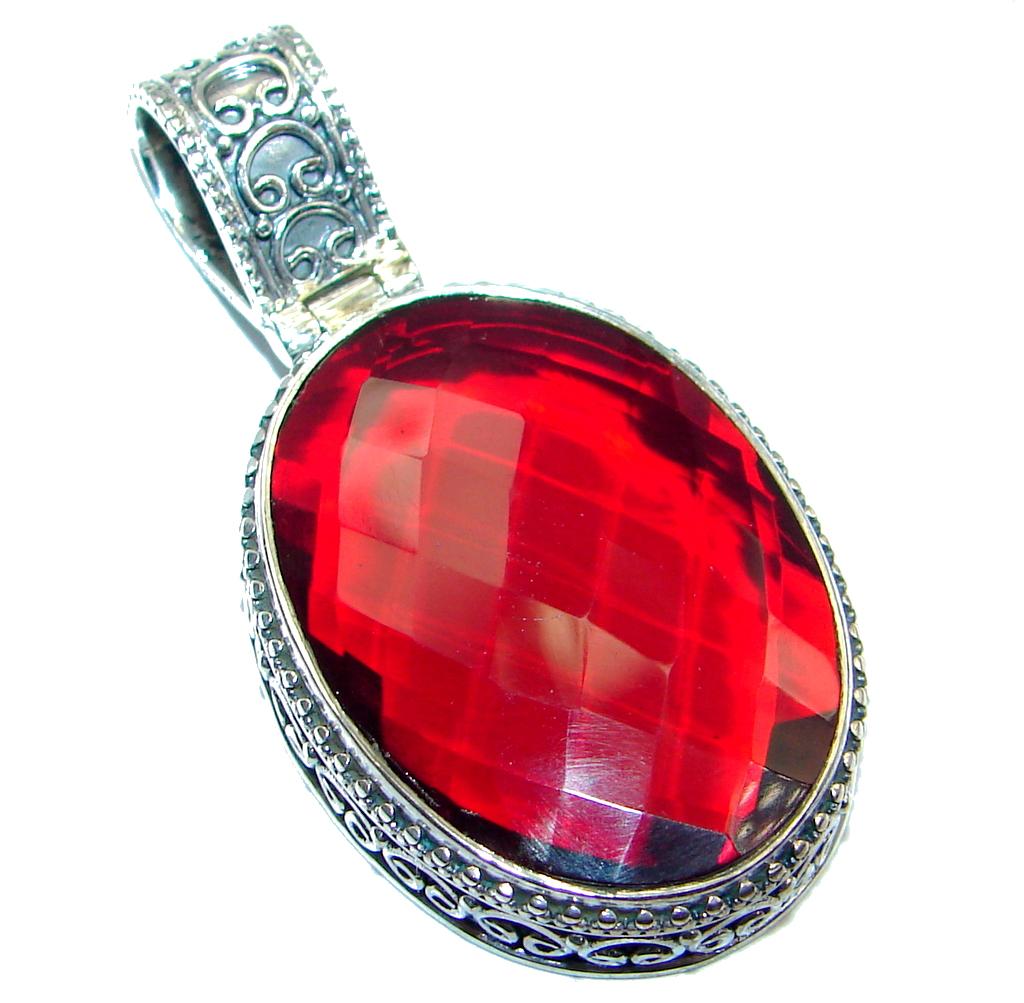 Amazing Red Energy Quartz Sterling Silver handmade Pendant