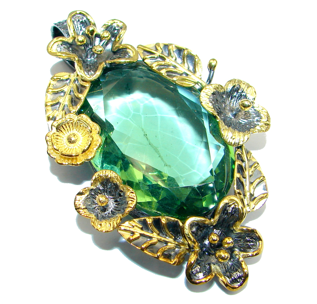 Floral Vintage Style  created Emerald Two tones  Sterling Silver Pendant