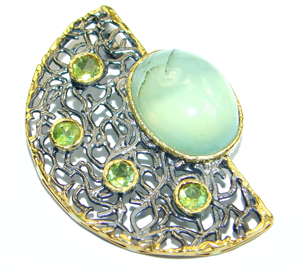 Genuine Green Moss Prehnite Peridot Gold plated over Sterling Silver handmade Pendant